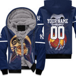 Jack Skellington New York Yankees Nightmare Navy 3D Allover Custom Name Number Gift For Yankees Fans Halloween Lovers Fleece Hoodie