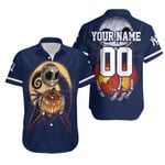 Jack Skellington New York Yankees Nightmare Navy 3D Allover Custom Name Number Gift For Yankees Fans Halloween Lovers Hawaiian Shirt