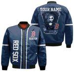 Jack Skellington Boston Red Sox Navy 3D Allover Custom Name Gift For Red Sox Fans Halloween Lovers Bomber Jacket