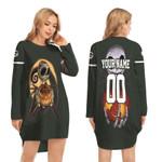 Jack Skellington Green Bay Packers Nightmare Navy 3D Allover Custom Name Number Gift For Packers Fans Halloween Lovers Long Sweatshirt