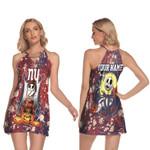 Jack Skellington In Freddy Krueger New York Giants Red Drop Painting 3D Allover Custom Name Gift For Giants Fans Halloween Lovers Ring Neck Halter Dress
