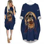 Jack Skellington Boston Red Sox Nightmare Navy 3D Allover Custom Name Number Gift For Red Sox Fans Halloween Lovers Batwing Pocket Dress