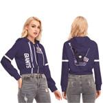 Jack Skellington New York Giants Navy 3D Allover Custom Name Gift For Giants Fans Halloween Lovers Crop Top Zip Hoodie