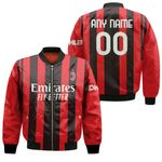 AC Milan Football Team Home Jersey Style 3D Allover Custom Name Number Gift For AC Milan Fans Bomber Jacket