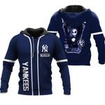 Jack Skellington New York Yankees Navy 3D Allover Custom Name Gift For Yankees Fans Halloween Lovers Hoodie