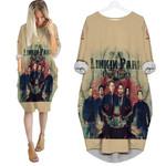 Linkin Park In My Heart All Legend Members Rock band Logo Cream 3D Designed Allover Gift For Linkin Park Fans Batwing Pocket Dress
