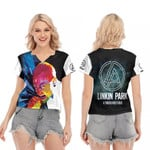 Linkin Park A Thousand Suns Chester Bennington Art Rock band Logo 3D Designed Allover Gift For Linkin Park Fans V-neck Short Sleeve Blouse