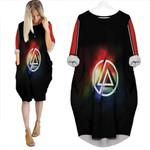 Linkin Park Rock band Rainbow Logo Black Red 3D Designed Allover Custom Gift For Linkin Park Fans Batwing Pocket Dress