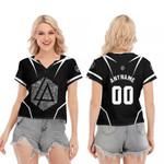 Linkin Park Famous Songs Rock band Logo Black 3D Designed Allover Custom Gift For Linkin Park Fans V-neck Short Sleeve Blouse