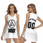 Linkin Park Rock band Logo White Gradient 3D Designed Allover Custom Gift For Linkin Park Fans Sleeveless Dress