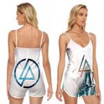 Linkin Park Angels Rock band Logo White 3D Designed Allover Gift For Linkin Park Fans V-neck Romper Jumpsuit