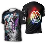 Linkin Park Chester Bennington Rock band Rainbow Logo Black 3D Designed Allover Gift For Linkin Park Fans 3D T-shirt