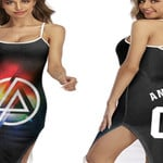 Linkin Park Rock band Rainbow Logo Black Red 3D Designed Allover Custom Gift For Linkin Park Fans Back Cross Dress