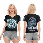 Linkin Park A Thousand Suns Rock band Logo Black 3D Designed Allover Gift For Linkin Park Fans V-neck Short Sleeve Blouse