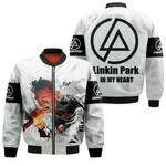Linkin Park Chester Bennington Rock band Logo White 3D Designed Allover Gift For Linkin Park Fans Bomber Jacket