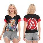 Linkin Park Chester Bennington Art Colorful Rock band Logo Black Red 3D Designed Allover Gift For Linkin Park Fans V-neck Short Sleeve Blouse
