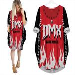 DMX Dark Man X American rapper Fire Red Black 3D Designed Allover Custom Gift For DMX Fans Batwing Pocket Dress