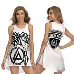 Linkin Park Rock band Special Logo White 3D Designed Allover Gift For Linkin Park Fans Sleeveless Dress