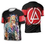 Linkin Park Chester Bennington Art Colorful Rock band Logo Black Red 3D Designed Allover Gift For Linkin Park Fans 3D T-shirt