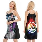 Linkin Park Chester Bennington Rock band Rainbow Logo Black 3D Designed Allover Gift For Linkin Park Fans O-neck Dress