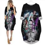 Linkin Park Chester Bennington Rock band Rainbow Logo Black 3D Designed Allover Gift For Linkin Park Fans Batwing Pocket Dress