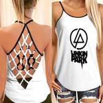 Linkin Park Rock band Logo White Gradient 3D Designed Allover Custom Gift For Linkin Park Fans Net Backless Tanktop