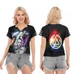 Linkin Park Chester Bennington Rock band Rainbow Logo Black 3D Designed Allover Gift For Linkin Park Fans V-neck Short Sleeve Blouse
