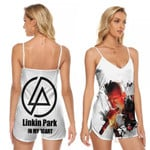 Linkin Park Chester Bennington Rock band Logo White 3D Designed Allover Gift For Linkin Park Fans V-neck Romper Jumpsuit