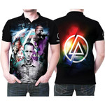 Linkin Park Chester Bennington Rock band Rainbow Logo Black 3D Designed Allover Gift For Linkin Park Fans Polo shirt