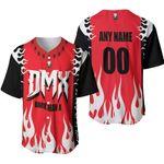 DMX Dark Man X American rapper Fire Red Black 3D Designed Allover Custom Gift For DMX Fans Baseball Jersey