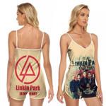 Linkin Park In My Heart All Legend Members Rock band Logo Cream 3D Designed Allover Gift For Linkin Park Fans V-neck Romper Jumpsuit