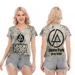 Linkin Park In My Heart Rock band Logo 3D Designed Allover Gift For Linkin Park Fans V-neck Short Sleeve Blouse