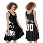 Linkin Park Rock band Logo Black Gradient 3D Designed Allover Custom Gift For Linkin Park Fans A-line Dress