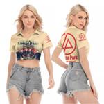 Linkin Park In My Heart All Legend Members Rock band Logo Cream 3D Designed Allover Gift For Linkin Park Fans V-neck Lapel Blouse