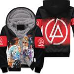 Linkin Park Chester Bennington Art Colorful Rock band Logo Black Red 3D Designed Allover Gift For Linkin Park Fans Fleece Hoodie