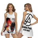 Linkin Park Chester Bennington Rock band Logo White 3D Designed Allover Gift For Linkin Park Fans Sleeveless Dress