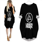 Linkin Park Rock band Logo Black Gradient 3D Designed Allover Custom Gift For Linkin Park Fans Batwing Pocket Dress