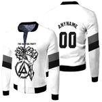 Linkin Park Rock band Special Logo Black White 3D Designed Allover Custom Gift For Linkin Park Fans Fleece Bomber Jacket