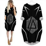 Linkin Park Famous Songs Rock band Logo Black 3D Designed Allover Custom Gift For Linkin Park Fans Batwing Pocket Dress