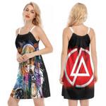 Linkin Park Chester Bennington Art Colorful Rock band Logo Black Red 3D Designed Allover Gift For Linkin Park Fans O-neck Dress