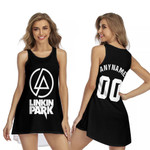 Linkin Park Rock band Logo Black Gradient 3D Designed Allover Custom Gift For Linkin Park Fans Sleeveless Dress