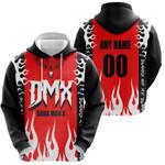 DMX Dark Man X American rapper Fire Red Black 3D Designed Allover Custom Gift For DMX Fans Hoodie