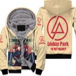 Linkin Park In My Heart All Legend Members Rock band Logo Cream 3D Designed Allover Gift For Linkin Park Fans Fleece Hoodie
