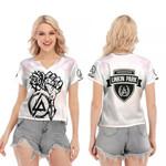 Linkin Park Rock band Special Logo White 3D Designed Allover Gift For Linkin Park Fans V-neck Short Sleeve Blouse