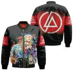 Linkin Park Chester Bennington Art Colorful Rock band Logo Black Red 3D Designed Allover Gift For Linkin Park Fans Bomber Jacket