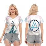 Linkin Park Angels Rock band Logo White 3D Designed Allover Gift For Linkin Park Fans V-neck Short Sleeve Blouse