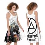 Linkin Park Legend Members Art Rock band Logo White 3D Designed Allover Gift For Linkin Park Fans A-line Dress