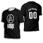 Linkin Park Rock band Logo Black Gradient 3D Designed Allover Custom Gift For Linkin Park Fans 3D T-shirt