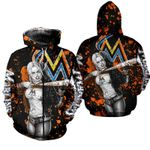 Stocktee Miami Marlins Limited Edition Over Print Full 3D T-shirt Zip Hoodie S - 5XL TOP000390