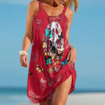Topsportee Boston Red Sox Butterflies And Skull Limited Edition Summer Beach Dress NLA002036